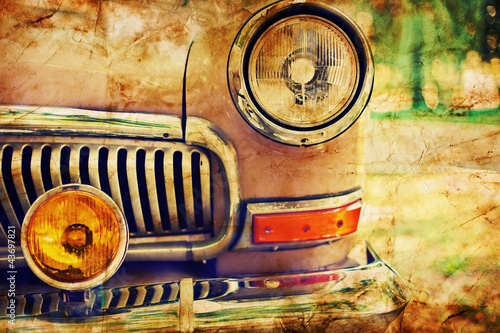 Wall mural Close-up photo of retro car headlights