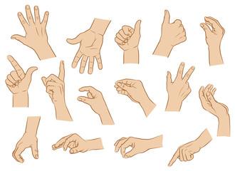 Hände, Handhaltungen, farbig