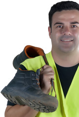 attractive man in work clothes and shoes