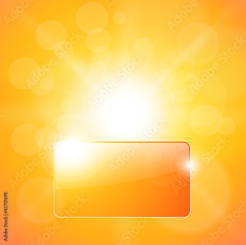 Sunny orange background, with banner for text.