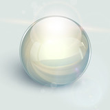 3D glass ball on background with lens flares