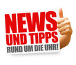 News und Tipps rund um die Uhr! Button, Icon