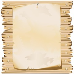 Poster su Legno-Vintage Paper on Wood Background-Vector