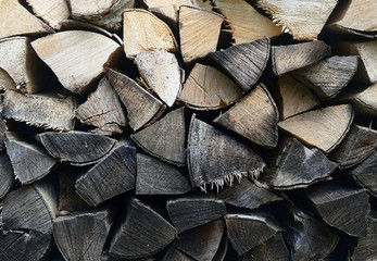 detail of old firewood stack