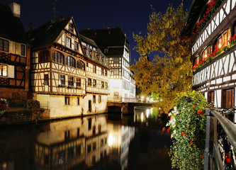 Night view of Petit France area in Strasbourg