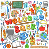 Back to School Supplies Notebook Doodle Vector Design Elements