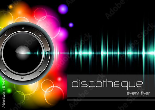 "vector template ""lights and sound"" for disco events"