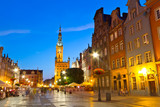 Fototapety Old town of Gdansk with city hall at night, Poland