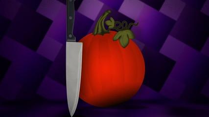 A knife meets a pumpkin.