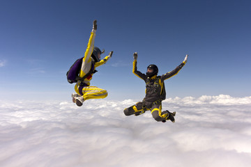 Skydivers in action.