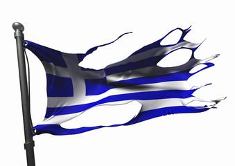 tattered greece flag on white