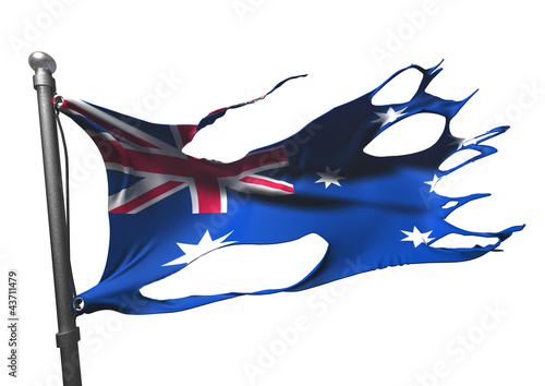 tattered australian flag on white