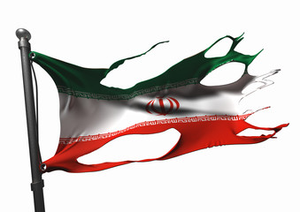tattered iranian flag on white