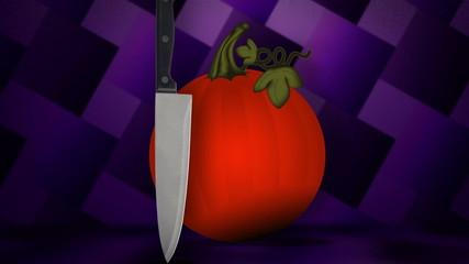 A knife meets a pumpkin, they create a Jack-o-lantern.