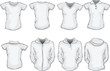 vector illustration of female blank shirts template in white