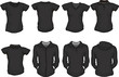 a set of female shirts template in black
