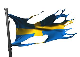 tattered swedish flag on white