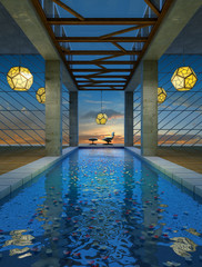 the spa at night view 2