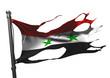 tattered syrian flag on white