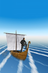 High resolution concept businessman sailing over the clouds