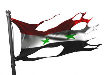 tattered syrian flag on white