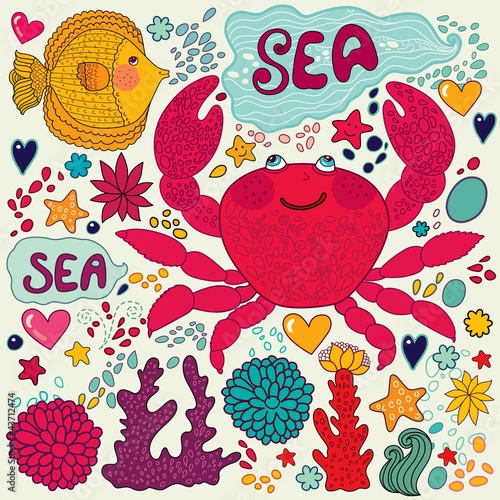 Vector wallpaper with fish, fun crab and marine life