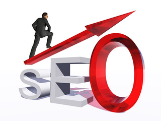 Conceptual 3D glass SEO symbol with red arrow pointing isolated