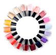 Coloured nail polish bottles stacked circle - 43713466
