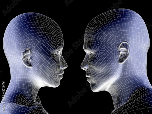 High resolution 3D wireframe human male or female head isolated