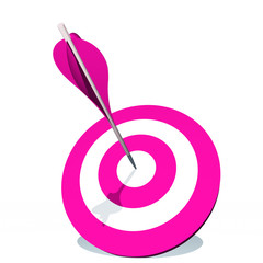 High resolution pink dart target board with arrow