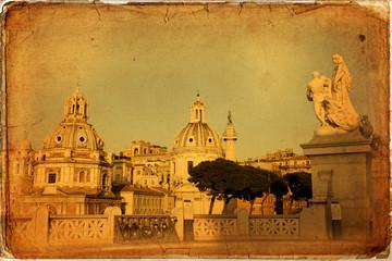 Trajan's Column and the church of St. Loreto, Rome