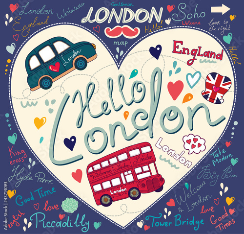 Fridge magnet Vector set of London symbols