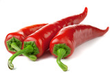 Three red chili peppers isolated on a white background