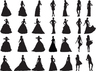 silhouettes of girls are in weddings and ball clothes