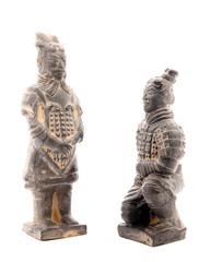 Terracotta warriors on white