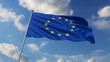 Eurounion flag waving against clouds background