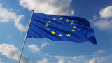 Eurounion flag waving against clouds background poster