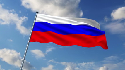 Russian flag waving against  clouds background