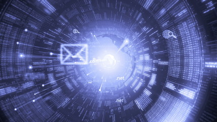 Digital tunnel. Internet. Technology background