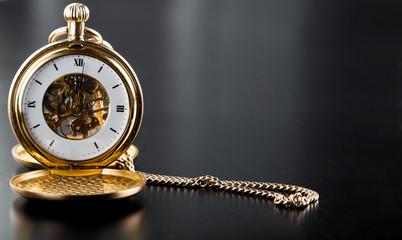 Photo of opened old vintage pocket clock
