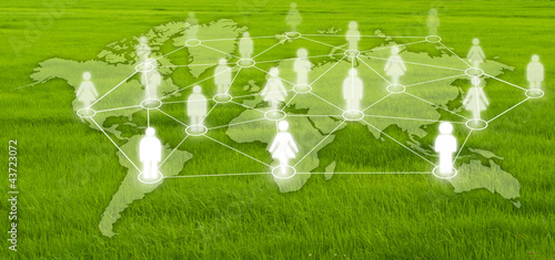 Social Network on the grass field.