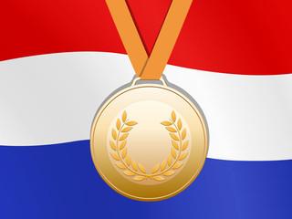 Bronzen medaille met nederlandse vlag
