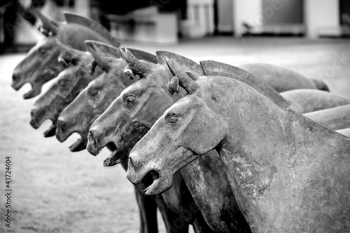 Terracotta horses in the tomb of Emperor Qin Shi Huang in Xian