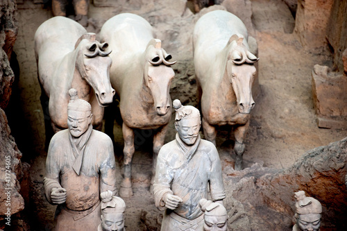 Plexiglas Xian Terracotta warriors and horses