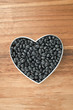 black beans on a heart shape container