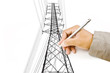 Hand Drawing High voltage power pole line.