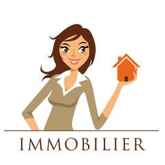 logo immobilier, femme