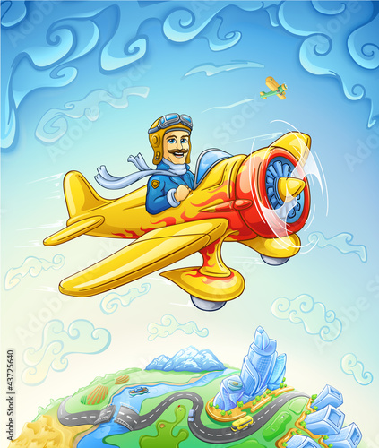 Cartoon plane with pilot flying over the earth