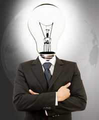 Businessman with Lamp-Head Crossed Hands.