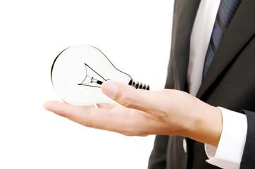 Businessman Holding Light Bulb on the white